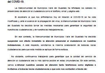 La Mancomunidad de Municipios Valle del Guadiato ha decidido suspender la atención presencial a los/as ciudadanos/as ante el avance del COVID-19.