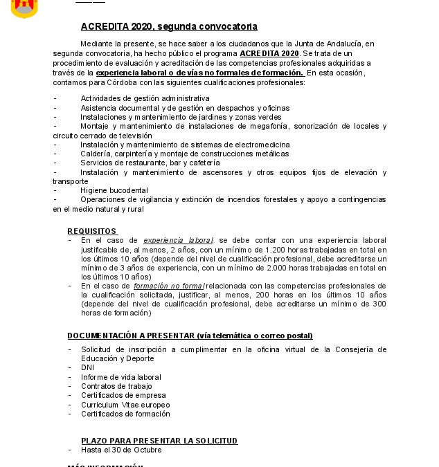 Segunda convocatoria, ACREDITA 2020