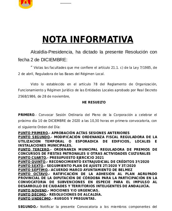 Pleno 10 de diciembre de 2020