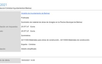 Anuncio de Licitación: Suministro de material de obras de Arreglos en la Piscina Municipal de Belmez