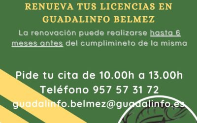 Renovación de licencias de caza y pesca en Guadalinfo.