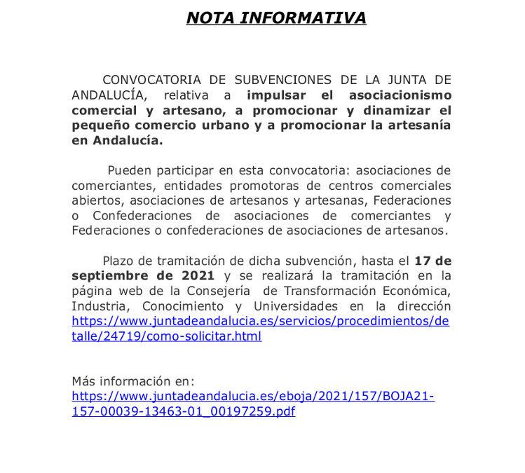 Nota informativa sobre subvenciones de la Junta para promoción de artesanos y pequeño comercio.