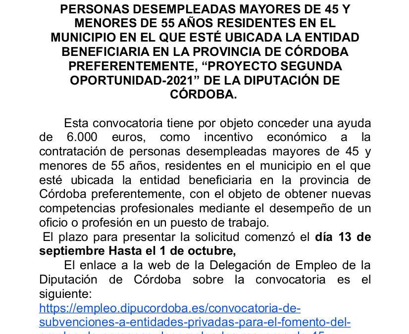 CONVOCATORIA DE SUBVENCIONES A ENTIDADES PRIVADAS, PROYECTO SEGUNDA OPORTUNIDAD.